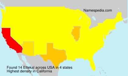 Surname Ettekal in USA