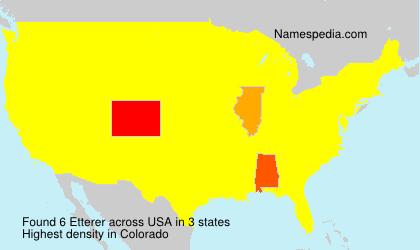 Familiennamen Etterer - USA