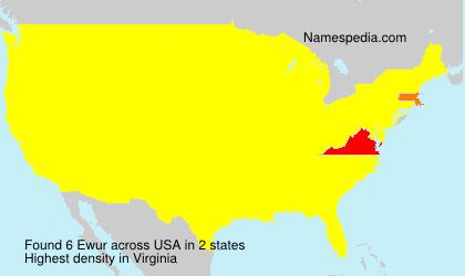 Familiennamen Ewur - USA
