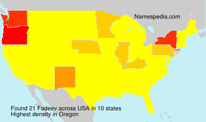 Surname Fadeev in USA
