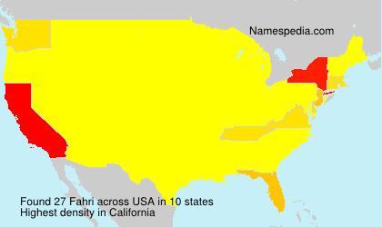Surname Fahri in USA