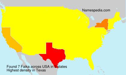 Surname Faika in USA