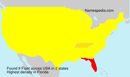 Surname Fajet in USA