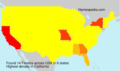 Familiennamen Fandos - USA