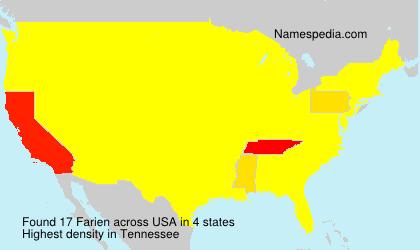Familiennamen Farien - USA