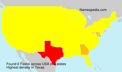 Familiennamen Fashe - USA