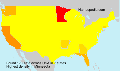Surname Faste in USA