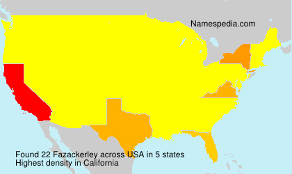 Surname Fazackerley in USA