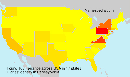 Surname Ferrance in USA
