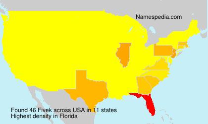 Familiennamen Fivek - USA