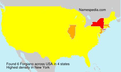Familiennamen Forgiano - USA