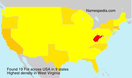Familiennamen Fot - USA
