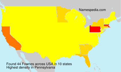 Surname Fownes in USA