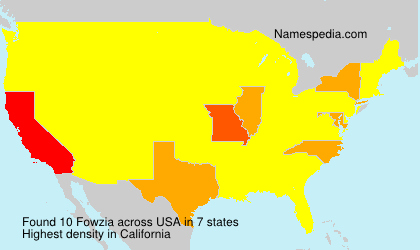 Familiennamen Fowzia - USA