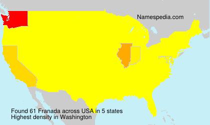 Surname Franada in USA