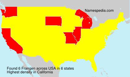 Surname Frangen in USA