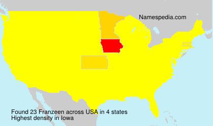 Surname Franzeen in USA