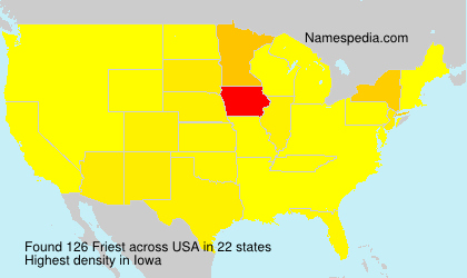 Surname Friest in USA