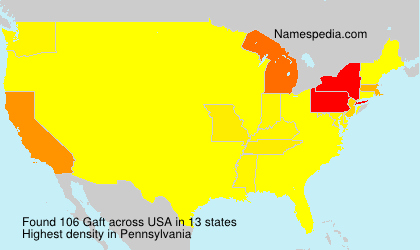 Familiennamen Gaft - USA