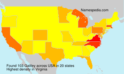 Surname Gaitley in USA
