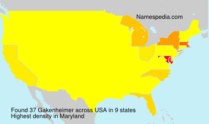 Surname Gakenheimer in USA