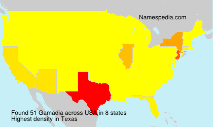 Surname Gamadia in USA