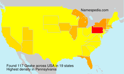 Surname Geake in USA