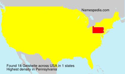 Familiennamen Geistwite - USA