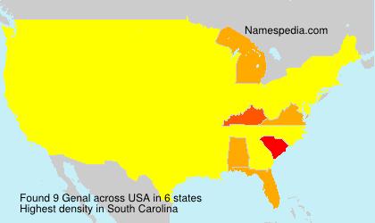 Familiennamen Genal - USA
