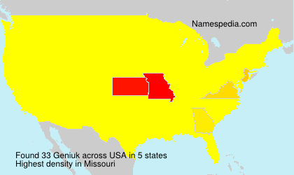 Surname Geniuk in USA