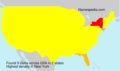 Surname Getia in USA