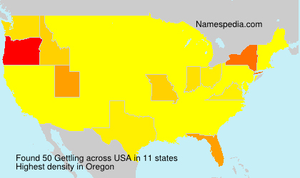 Surname Gettling in USA