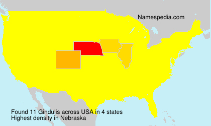 Surname Gindulis in USA