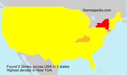 Familiennamen Girdey - USA