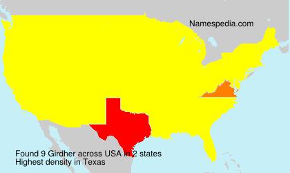 Familiennamen Girdher - USA