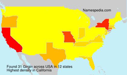 Familiennamen Girgin - USA