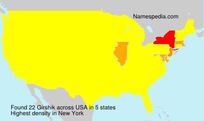 Surname Girshik in USA