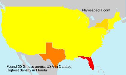 Surname Gittess in USA