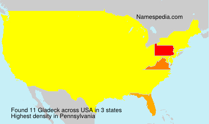 Surname Gladeck in USA