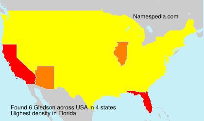 Surname Gledson in USA