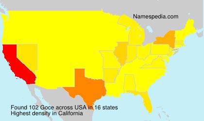 Familiennamen Goce - USA