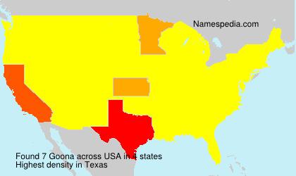 Familiennamen Goona - USA