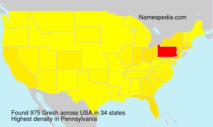 Surname Gresh in USA