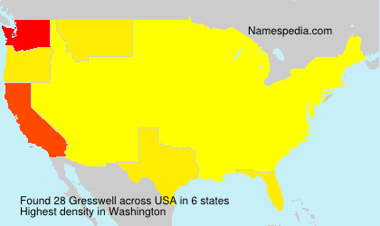 Surname Gresswell in USA