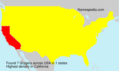 Surname Grygera in USA