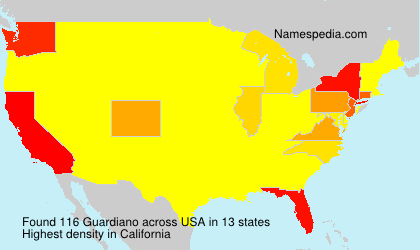 Surname Guardiano in USA