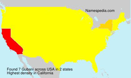 Familiennamen Gubani - USA