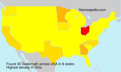 Familiennamen Gubernath - USA