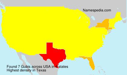 Familiennamen Gubis - USA