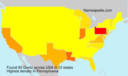 Familiennamen Guntz - USA